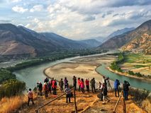 Een passage van de Yangtze-rivier in yunnan provincie, China royalty-vrije stock afbeelding