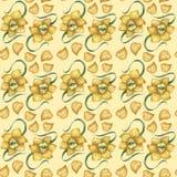 Een patroon met een gele gele narcis Royalty-vrije Stock Afbeeldingen