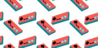 Een patroon van rode en blauwe oude retro uitstekende hipsterbedieningshendels, manipulators, consoles van 80 ` s, 90 ` s voor ee royalty-vrije illustratie