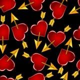 Een patroon van rode harten op een zwarte achtergrond Stock Foto's