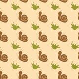 Een patroon van slakken en kruiden Royalty-vrije Stock Afbeeldingen