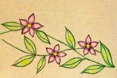 Een pen en potloodschets van drie bloesems vector illustratie