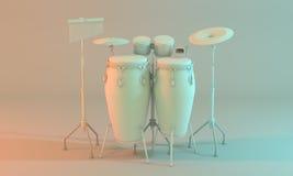 Een percussie plaatste met congas, klankbekkens, bongos en koebel Stock Foto's