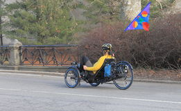 Een Personenvervoer een Driewieler in Central Park, New York Royalty-vrije Stock Foto's