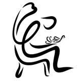 Een persoon die een vogel, een goed of een godsdienst houden royalty-vrije illustratie