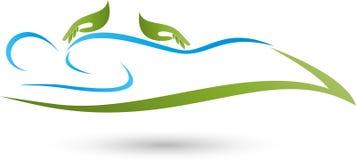 Een persoon en twee handen, massage en naturopathic embleem stock afbeelding