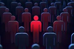 Een persoon merkte rood tussen andere mensen als concept gevaar het 3d teruggeven stock fotografie