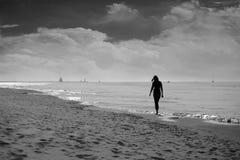 Een Persoon op de Kusten van Meer Michigan dichtbij Heilige Joseph Michigan Royalty-vrije Stock Fotografie