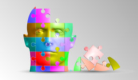 Een persoons` s gezicht bestaat uit een multi-colored raadsel Vectorillustratie van een logische taak Stock Fotografie