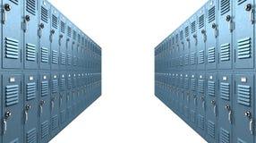 Het blauwe Perspectief van de Doorgang van de Kasten van de School Royalty-vrije Stock Fotografie