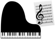 een piano en een muziek-blad Royalty-vrije Stock Afbeelding