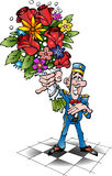 Een piccolofluit met bloemen Stock Afbeelding