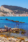 Een pier met een mening van de stad van Zakynthos - 25 Juni 2015 Royalty-vrije Stock Foto's