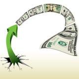 Een Pijl breekt uit om Geld te achtervolgen Stock Foto's