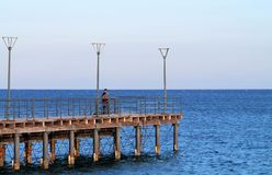Een pijler op de Molos-promenade in Limassol royalty-vrije stock foto's