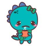 Een pijnlijke dinosaurus met een mok stickers Royalty-vrije Stock Foto