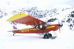 Een Piper Bush-vliegtuig in Wrangell St Elias National Park en Domein, Alaska stock fotografie