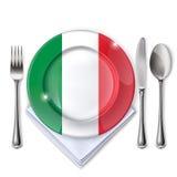 Een plaat met een Italiaanse vlag Stock Fotografie