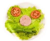 Een plaat met groene ui, tomaten, salade Royalty-vrije Stock Foto's
