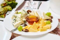 Een plaat met een reeks verschillende kazen: Mazda, Parmezaanse kaas, Schimmelkaas, die met vruchten wordt gediend royalty-vrije stock foto