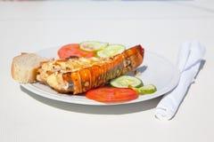 Een plaat met zeekreeft langouste cuba stock foto's