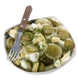 Een plaat van aardappelsalade Stock Afbeeldingen