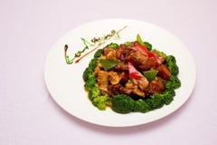een plaat van vlees en bamboespruiten Royalty-vrije Stock Fotografie