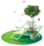 Een plaats in de tuin te ontspannen royalty-vrije illustratie