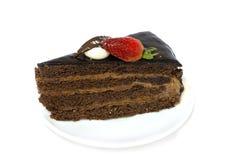Een plak van chocoladecake Stock Fotografie