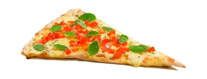 Een plak van margheritapizza Stock Afbeeldingen