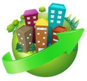 Een planeet met hoge gebouwen royalty-vrije illustratie
