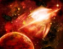 Een planeet is in ruimte Stock Afbeeldingen