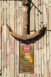 Een plaque gewijd aan het schip Stock Foto