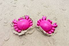 Een plastic roze stuk speelgoed van het krabzand Stock Fotografie