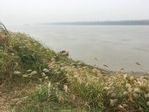 Een platform voor woon om water van Yangtze-Rivier te krijgen stock foto's