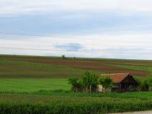 Een plattelandshuisje dat door groen gebiedsgras en bewerkt gebied wordt omringd Geploegde gecultiveerde grond stock afbeelding