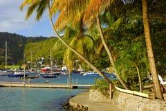 Een populaire haven in de grenadines Stock Afbeelding