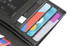 Een portefeuille of een beurs die kaarten bevatten Stock Afbeelding