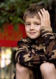 Een portret van een 7 éénjarigenjongen Royalty-vrije Stock Afbeeldingen