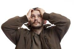 Een portret van een droevige mens royalty-vrije stock fotografie
