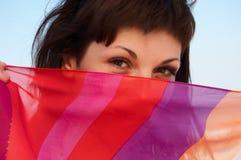 Een portret van mooie vrouw met gestreept weefsel Royalty-vrije Stock Fotografie