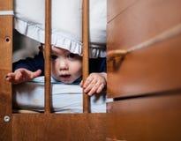 Een portret van een witte jongen het spelen huid - en - zoekt royalty-vrije stock foto