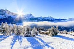 Een post van de skihelling in Zwitserland stock afbeelding