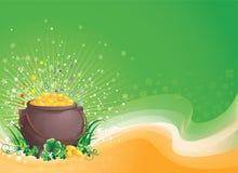 Een pot van goud op de Dag van Heilige Patrick. Stock Foto's