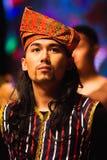 Een potrait van een mens die het traditionele kostuum van Maleisië dragen Royalty-vrije Stock Fotografie