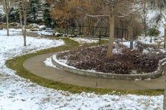Een prachtig gemodelleerd die park in Salt Lake City met sneeuw in de winter wordt bedekt royalty-vrije stock foto