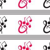 Een prachtig muzikaal patroon op een witte achtergrond stock illustratie