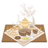 Een prachtig verfraaide feestelijke lijst door kaarslicht Geurige hete thee met cake, uitstekend koekjes en chocoladesuikergoed A vector illustratie
