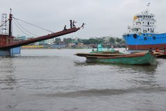 Een prachtige mening van Buriganga-Rivier, Dhaka, Bangladesh stock fotografie