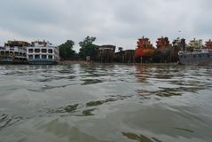 Een prachtige mening van Buriganga-Rivier, Dhaka, Bangladesh stock afbeelding